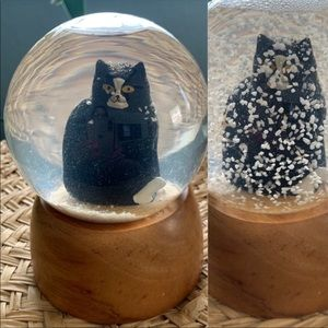 Tuxedo Cat Snow Globe Vintage Pottery Barn